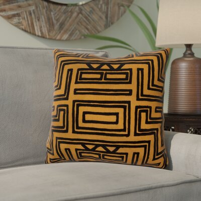 Haysville Mesmerizing Maze Throw Pillow Size: 18 H x 18 W, Color: Amber / Caviar, Filler: Polyester