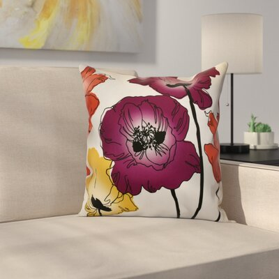 Poppies Throw Pillow Size: 18 H x 18 W x 2 D, Color: Purple