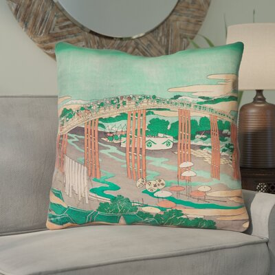 Enya Japanese Bridge Square Throw Pillow Color: Green/Peach, Size: 14 x 14