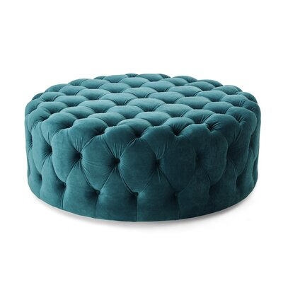 Koffler Tufted Round Ottoman Upholstery: Teal