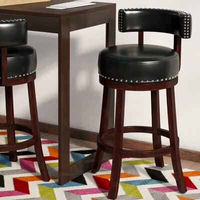 Tonia Contemporary 25 Swivel Bar Stool Upholstery: Black