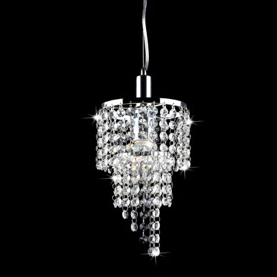 Carbon 1-Light Crystal Pendant