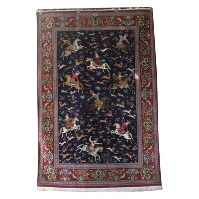 One-of-a-Kind Ensley Hunting Design Hand-Knotted Silk Blue/Red Area Rug