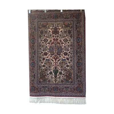One-of-a-Kind Luttrell Hand-Knotted Wool/Silk Red/Blue Area Rug