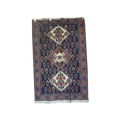 One-of-a-Kind Pepin Hand-Knotted Wool Blue/Rose Area Rug