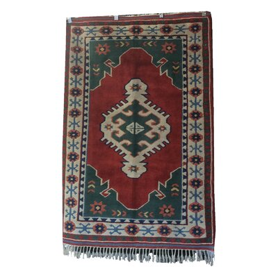 One-of-a-Kind Pepin Hand-Knotted Wool Red/Green Area Rug