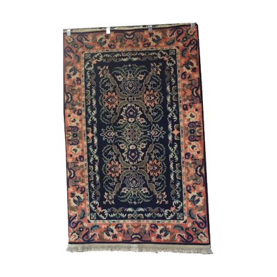 One-of-a-Kind Luzerne Hand-Knotted Wool Navy Blue/Peach Area Rug