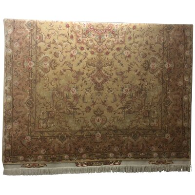 One-of-a-Kind Lutz Hand-Knotted Wool/Silk Beige/Pink Area Rug