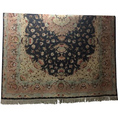 One-of-a-Kind Lutz Hand-Knotted Wool/Silk Black/Rose Area Rug