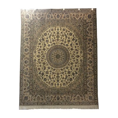 One-of-a-Kind Lyke Hand-Knotted Wool/Silk Ivory/Blue Area Rug