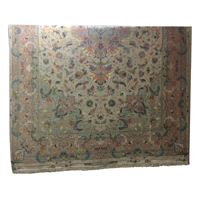 One-of-a-Kind Drummaul Hand-Knotted Wool/Silk Beige/Rose Area Rug
