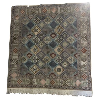 One-of-a-Kind Gerrald Hand-Knotted Wool/Silk Ivory/Blue Area Rug