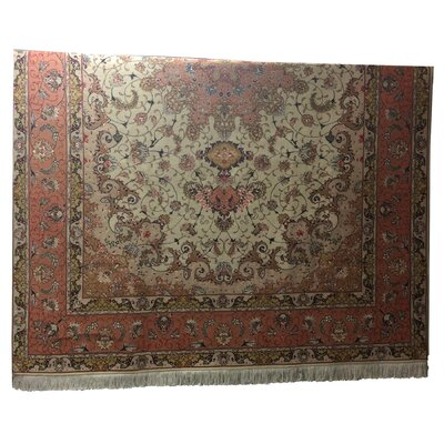 One-of-a-Kind Lutz Hand-Knotted Wool/Silk Beige/Rose Area Rug