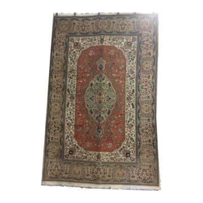 One-of-a-Kind Lutz Hand-Knotted Wool Terracotta/Green Area Rug