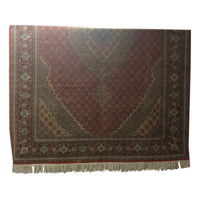 One-of-a-Kind Lutz Hand-Knotted Wool/Silk Red/Green Area Rug