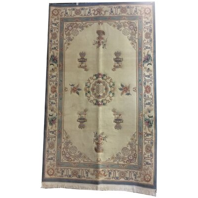 One-of-a-Kind Drumroan Hand-Knotted Wool Ivory/Blue Area Rug