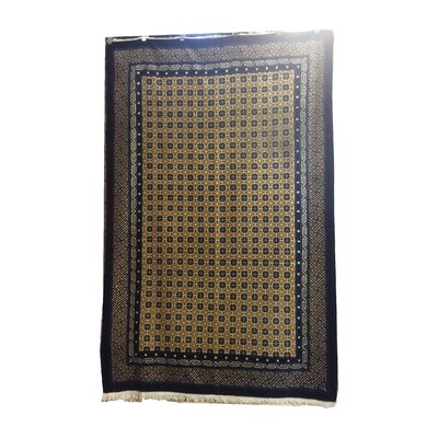 One-of-a-Kind Magdaleno Antique Peking Hand-Knotted Wool Navy Blue/Yellow Area Rug