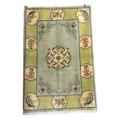 One-of-a-Kind Drummaul Hand-Knotted Wool Blue/Green Area Rug