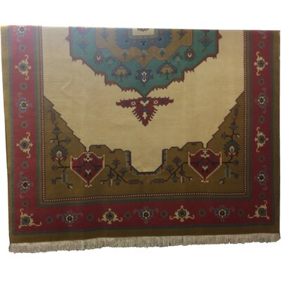 One-of-a-Kind Perdomo Hand-Knotted Wool/Silk Beige/Blue Area Rug