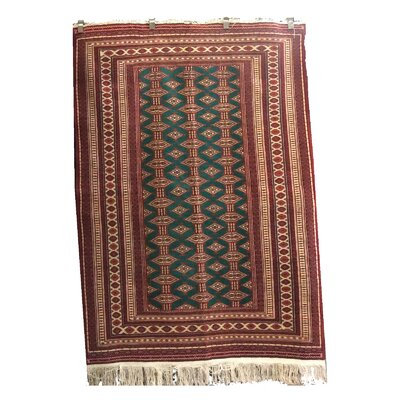 One-of-a-Kind Peralez Hand-Knotted Wool Green/Red Area Rug