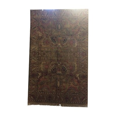 One-of-a-Kind Lybarger Hand-Knotted Wool Green/Rose Area Rug