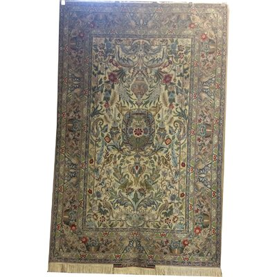 One-of-a-Kind Luttrell Hand-Knotted Wool/Silk Ivory/Gray Area Rug