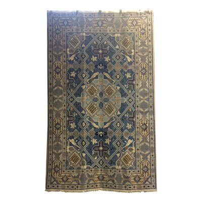 One-of-a-Kind Lyke Hand-Knotted Wool/Silk Blue/Ivory Area Rug