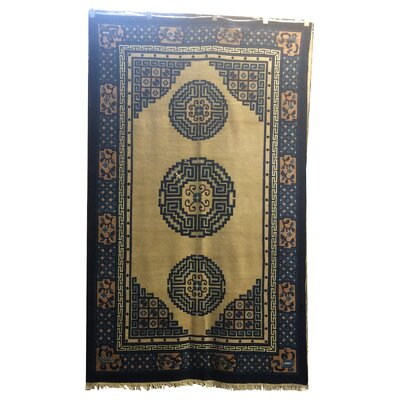 One-of-a-Kind Vo Antique Peking Hand-Knotted Wool Ivory/Navy Blue Area Rug