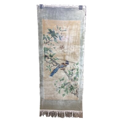 One-of-a-Kind Warlo Chinese Bird Neutral Hand-Knotted Silk Beige/Blue Area Rug