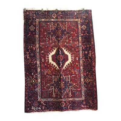 One-of-a-Kind Falken Hand-Knotted Wool Red/Black Area Rug