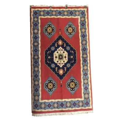 One-of-a-Kind Perdomo Hand-Knotted Wool/Silk Blue/Terracotta Area Rug