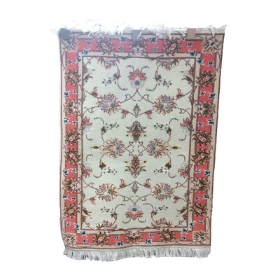 One-of-a-Kind Drummaul Hand-Knotted Wool/Silk Beige/Pink Rose Area Rug