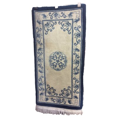 One-of-a-Kind Ducksworth Chinese Peking Art Deco Hand-Knotted Wool Ivory/Blue Area Rug
