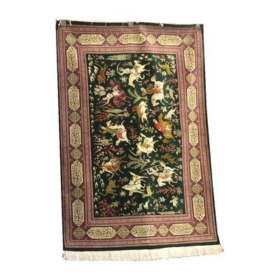 One-of-a-Kind Ensley Hunting Design Hand-Knotted Silk Green/Rose Area Rug