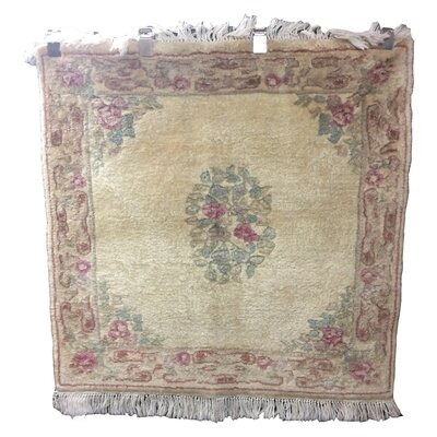 One-of-a-Kind Drumroan Hand-Knotted Wool Beige/Green Area Rug