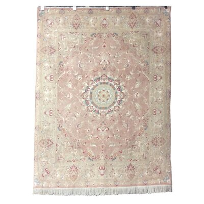 One-of-a-Kind Lutz Hand-Knotted Wool/Silk Pink Area Rug