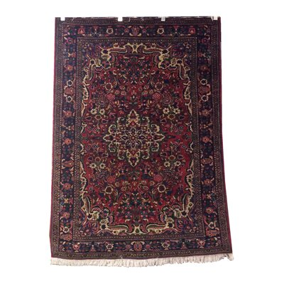 One-of-a-Kind Magee Bakhtiari Hand-Knotted Wool Red/Navy Area Rug