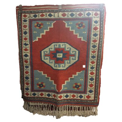 One-of-a-Kind Pepin Hand-Knotted Wool Red/Blue Area Rug