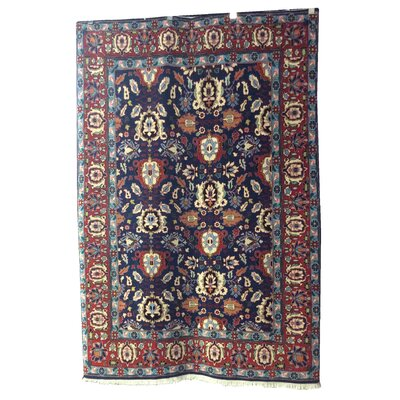 One-of-a-Kind Magers Persian Hand-Knotted Wool Navy/Rust Area Rug