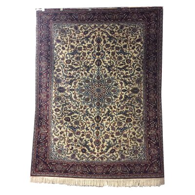 One-of-a-Kind Lydon Hand-Knotted Wool Ivory/Burgundy Area Rug