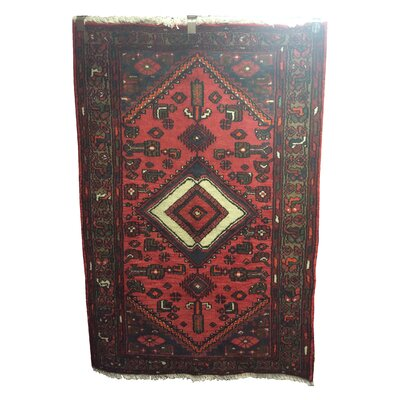 One-of-a-Kind Pfeffer Tafresh Tribal Hand-Knotted Wool Rust Red/Blue Area Rug