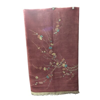 One-of-a-Kind Whitcomb Chinese Peking Art Deco Hand-Knotted Wool Rose/Pink Area Rug