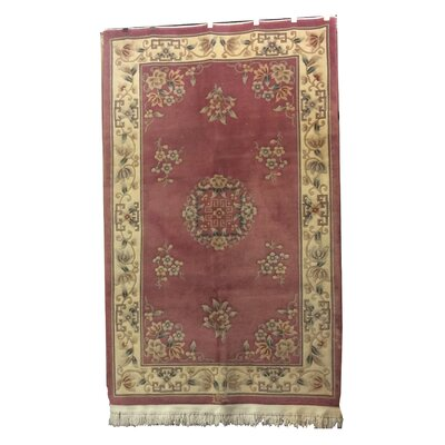 One-of-a-Kind Drumroan Hand-Knotted Wool Pink/Beige Area Rug