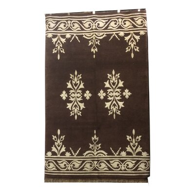One-of-a-Kind Bigham Hand-Knotted Wool/Silk Brown/Ivory Area Rug