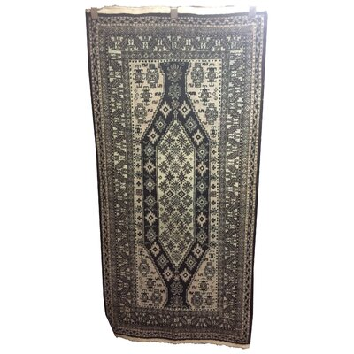 One-of-a-Kind Winne Afghan Tribal Hand-Knotted Wool Black Area Rug