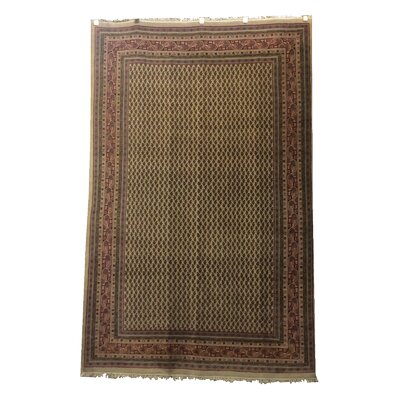 One-of-a-Kind Magaw Hand-Knotted Wool Ivory/Burgundy Area Rug