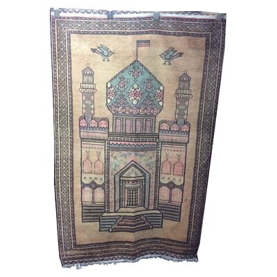 One-of-a-Kind Wonderly Persian Pictorial Hand-Knotted Wool Brown Area Rug