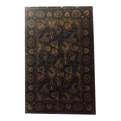 One-of-a-Kind Drumsill Hand-Knotted Wool Black/Green Area Rug