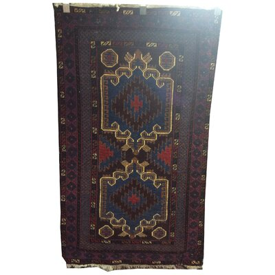 One-of-a-Kind Weik Afghan Tribal Hand-Knotted Wool Blue/Brown Area Rug
