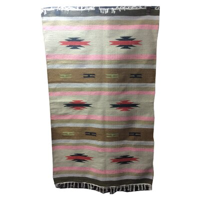 One-of-a-Kind Pfarr Kilim Hand-Knotted Wool Brown/Pink Area Rug